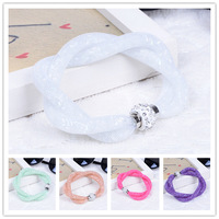 Fashion Women Double Shiny Stardust Magnet Clasp Bracelets With Tiny Resin Crystal Filled Twining Mesh Bracelets Jewelry
