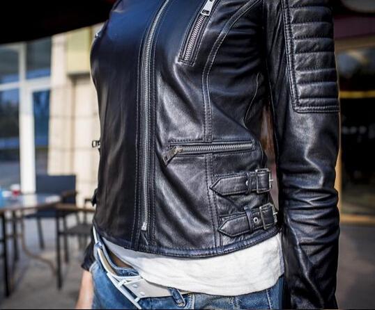 Женщины в весна натуральная кожа овчина куртки женское фирменный стиль пальто черный приталенный короткая BL007