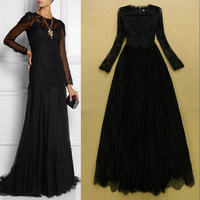 European High-end Fashion Women's Embroidered Lace Elegant Evening Pleated Dress To the Floor SS4570