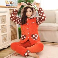 Winter thick warm cotton-padded pajamas women nightwear velvet flannel ladies sleepwear with a hood thermal lounge set
