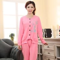 new 2015 spring autumn pyjama women pajamas sets ladies cotton cardigan sleepwear female nightwear pink home clothes suits