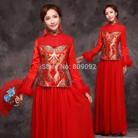 Cheongsam winter evening dress the  long sleeve length red cotton-padded 7058