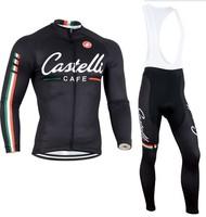 2014 Men Castelli Ropa ciclismo long cycling jersey Bicycle bicicleta mountain bike maillot Cycling clothing (bibs) pants set