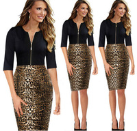 Leopard grain together cultivate one's morality pencil dress The high-quality long dress