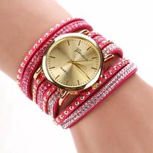 6 Colors Ladies Gift Luxury Jewelry Rhinestone Wrap Bracelet Quartz Wristwatches Women Dress Watches Relogio Feminino