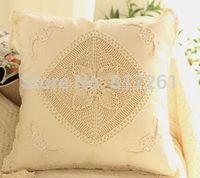 IKEA fashion Beige 40-45cm square cushion cover for car decoration pillow case for bed decor cotton crochet sofa case towel