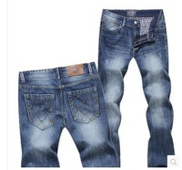 Men's jeans small straight slim young men's trousers contracted big cats should wear white trousers code