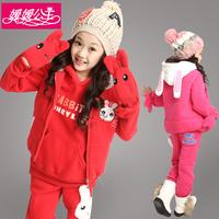 Children's clothing winter female child autumn 2014 child cartoon thickening plus velvet sweatshirt three pieces set