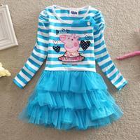 Childrens clothing cartoon girls clothes lace baby girl dress Princess costume stirpe dresses nova Peppa pig clothing BrandHA081