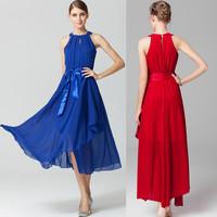 high quality 6 color plus size fashion women party dress Irregular hem Strapless lady's long dress sleeveless maxi dress G349Y