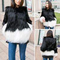 2015 Women Hairy Shaggy Faux Fox Fur Short Jackets Black & White Contrast Color Coat New Arrivals