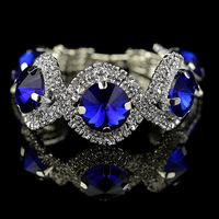 silver girl crystal bracelet 2015 valentine day gift fashion silver plated green rhinestone bracelet blue stone jewelry