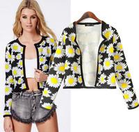 2015 Free Shipping Europe America Style New Spring Fashion Ladies Vintage Printing Casual Daisy Coat Women Short Jacket