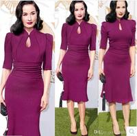Women Elegant Evening Dress Half Sleeve Stand Collar Bodycon Sexy Fishtail Vestido Purple Waist Drap Party Formal  Dress