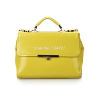 Women Genuine Leather Candy Color Cowhide Leather Handbag Messenger Bag Handbag