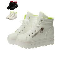 Zapato De Mujer White Fashion Wedge Sneakers Women White Height Increasing High Top Platform Shoes Woman Sapatos Femininos