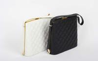 European And American Fashion Black\White Quilted Shoulder Bag For Women Casual High Quality PU Handbag Evening Banquet Bag 652e