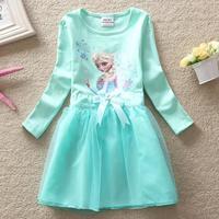 Frozen Elsa dresses children costume baby girl party princess dress fashion Autumn frozen cartoon clothing girls Apparel HA087