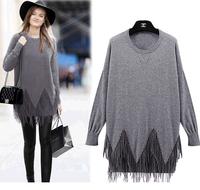 winter new design  tassel one pieces Sweater dresses patchwork loose high street fashion brands ladys dress vestidos LJ286QAF