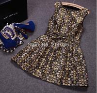 D50 Female high quality spring autumn plus size Bronzing o-neck empire Bow jacquard Hedging slim tank dresses B01 GD1180