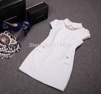 D50 Female autumn winter plus size Beading jacquard diamonds Hedging thicken slim woolen dresses B01 GD1180