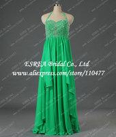 Bead Crystal Halter Trendy Chiffon Green Long Evening Dress 2015 Sexy Open Back T1362 Dinner Dress