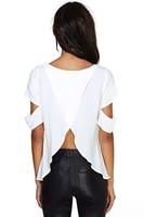 New 2015 Fashion Short Sleeve Hole Brand Blouse Women Blouses Sexy Back Cross Novelty Blouse Loose Punk Shirt Plus Size Blouses