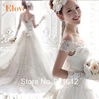 New Hot Sale Fashionable Sexy Luxury V Neck Gown Lace Bride Vintage Romantic Vestido De Noiva Backless Train Wedding Dress WDF08