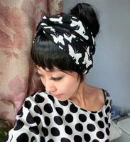 free shipping lady fashion cotton twist headband, women butterfly headband
