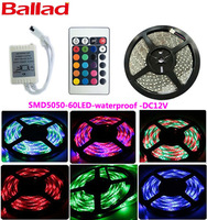 Wholesale! SMD 5M/300LEDS Waterproof Flexible strip/ RGB 3528 Led Strip Light with 24 Keys IR Remote for wedding party decoratio