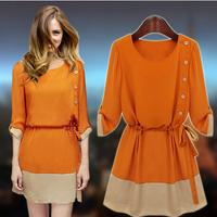 summer casual dress one-piece dress medium-long chiffon brand plus size black orange color D0001