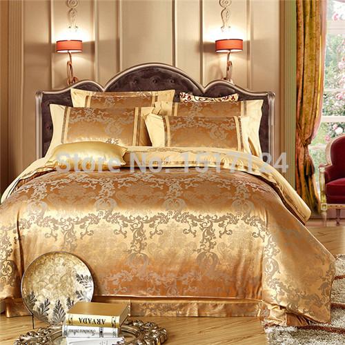 Hot silk bedding set rainha King size 4 pcs Noble jogo de cama de luxo linho tributo cetim de seda jacquard capa de edredão roupas de cama folha(China (Mainland))