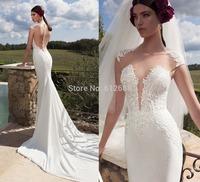 Romantic Brand vestido de noiva Scoop Lace See Through Back Chapel Train Front Split Mermaid Wedding Dresses 2015