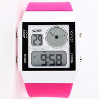 3ATM digital waterproof wristwatch with colorful LED back light sapphire glass zinc alloy quartz analog watch PU strap casual