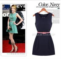 summer woman casual dress women contrast colorsleeveless dress sexy dresses sundress OL free shipping