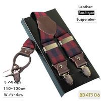 BD4T506 Fashion Plaid elastic casual braces suspender,active male strap , leather sling, 4 clips 4 colors ,110/120cm length