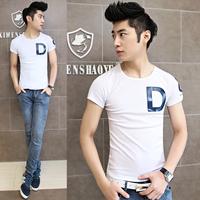 2015 U of t short slim breathable men's T-shirt the trend of fashion short-sleeve print letter d