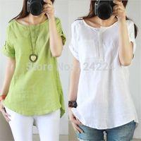 Women's Linen Cotton Short Sleeve T Shirt Blouse Tops Plus Size Green White Lcj