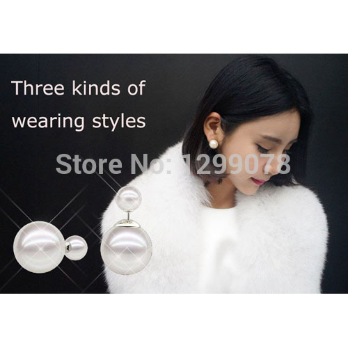 Hot Selling 2015 Genuine Brand Double Side matte Pearl Stud Earrings Big wholesale christmas for Women /2 cd bead Freeshipping(China (Mainland))
