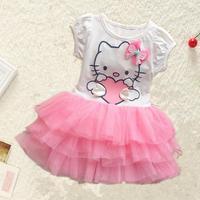 Baby girls lace dresses cartoon children clothing for summer kids princess tutu dress party hello kitty ball gown dress HA061