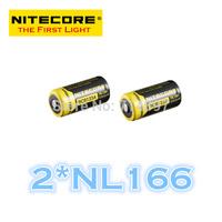 FREE SHIPPING   ORIGINAL 2 Pcs NL166 Nitecore RCR123A Li-ion Rechargeable Battery 650mAh 3.7V 2.4Wh