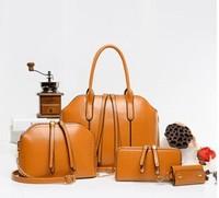 2015 New Arrival Wax oiled Composite leather Bag Women Handbag Shoulder Crossbody Bag Handbag+Shoulder Bag+Wallet+Key Bag 4 sets