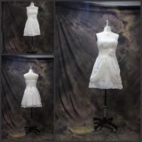 Real Sample 2014 Prom Dress to Party Sexy Strapless Handmade Flowers Short Prom Dresses vestido de festa Free Shipping