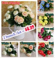 2 bunch Artificial Flowers silk Tea rose flowers For wedding home decorative DIY Simulation Flowers supplies wholesale