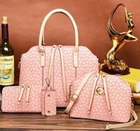 2015 Europe Style Fashion Composite leather Bag Women Handbag Shoulder Crossbody Bag Handbag+Shoulder Bag+Wallet+Key Bag 4 sets