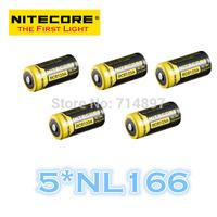 FREE SHIPPING   ORIGINAL 5 Pcs NL166 Nitecore RCR123A Li-ion Rechargeable Battery 650mAh 3.7V 2.4Wh