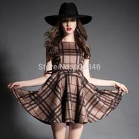 2015 Spring Autumn Disigner Brand Britsh Style High Fashion Women Vintage O Neck Microfiber Suede Wide Flare Plaid Tank Dress