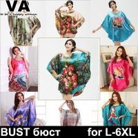 nightgowns women pajamas robes sleepwear plus size froral printe silk satin xxl xxxl 4xl 5xl 6xl new 2015 W00172