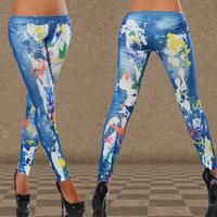 Fashion Printed Jeans for Women Vintage Style Slim Denim Skinny Trousers Ladies Elastic Waist Casual Tight Leggings Jeans Pants