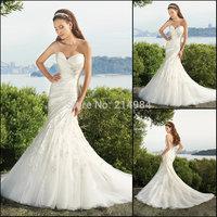 Vestidos de Novia New Arrival Fabulous Sexy Sweetheart Sleeveless Bridal Gown Lace Appliques Mermaid Wedding Dresses